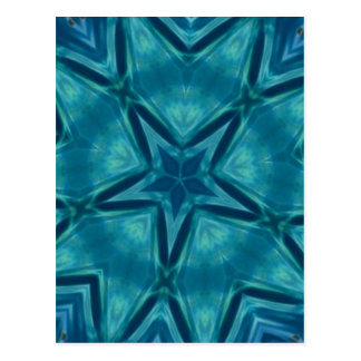 Beautiful Aquamarine Star Shaped Mandela Pattern Postcard