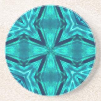 Beautiful Aquamarine Teal Blue Cross Abstract Sandstone Coaster