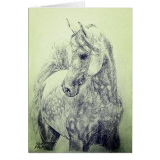 Beautiful Arab Horse - hand drawn Card