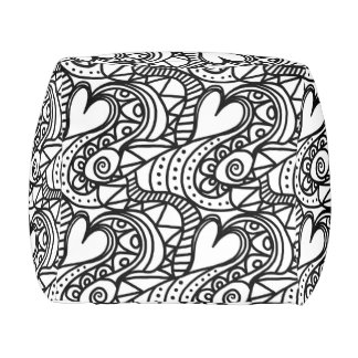 Beautiful Art Deco Black and White Pouf with Heart