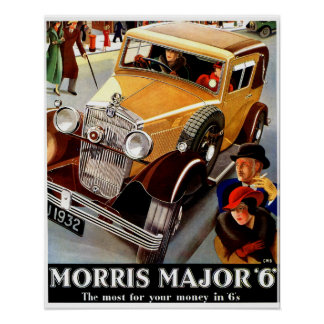 Beautiful art deco British vintage auto Poster