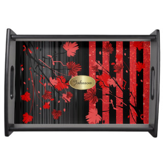 Beautiful Art Deco Red & Black Floral | DIY Name Serving Tray
