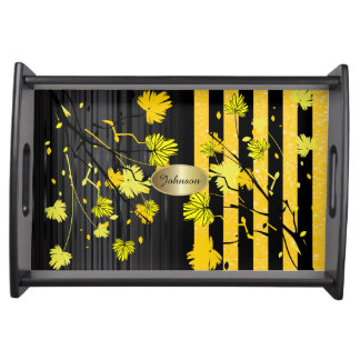 Beautiful Art Deco Yellow & Black Floral  DIY Name Serving Tray