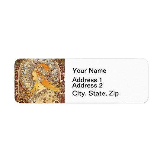 Beautiful Art Nouveau Woman Return Address Label