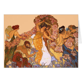 Beautiful Art Nouveau Women with Irises and Roses Greeting Card