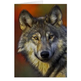 Beautiful artistic grey wolf portrait card
