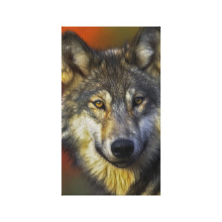 Beautiful artistic grey wolf portrait stretched canvas prints