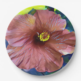 Beautiful Artistic Hibiscus Blossoms Paper Plate