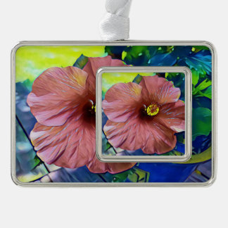 Beautiful Artistic Hibiscus Blossoms Silver Plated Framed Ornament