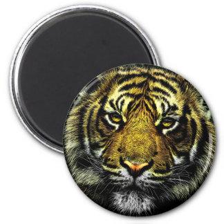 Beautiful artistic tiger portrait 6 cm round magnet