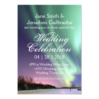 Beautiful Aurora Under The Stars Twilight Wedding Card