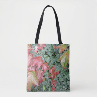 Beautiful autumn fall red green ivy leaves tote bag