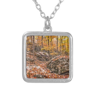 Beautiful Autumn Forest Silver Plated Necklace