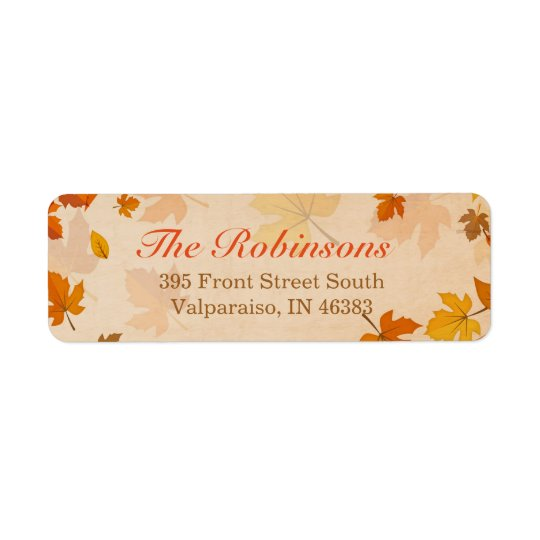Beautiful Autumn Red and Gold Maple Leaves Return Address Label