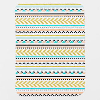 Beautiful Aztec Inspired Geometric Pattern Baby Blanket