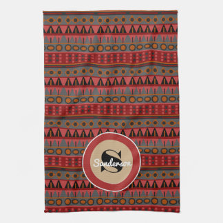 Beautiful Aztec w/Monogram Tea Towel