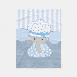 Beautiful Baby Blue Elephant Fleece Blanket