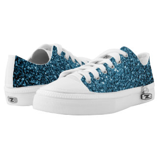 Beautiful Baby blue glitter sparkles Low Tops