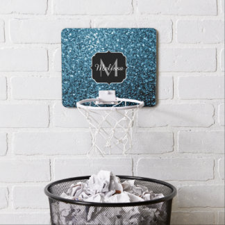 Beautiful Baby blue glitter sparkles Monogram Mini Basketball Hoop