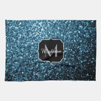Beautiful Baby blue glitter sparkles Monogram Tea Towel
