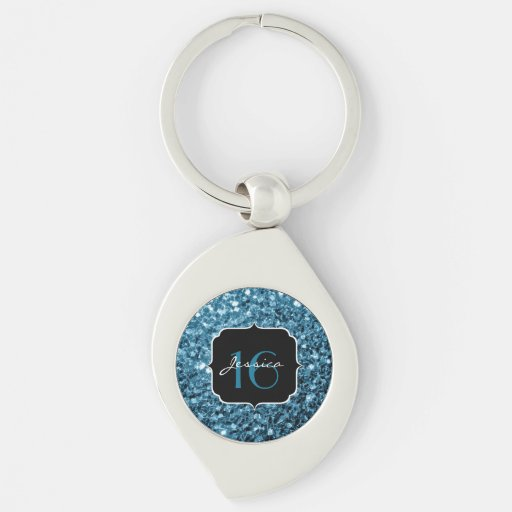 Beautiful Baby Blue sparkles Sweet 16 keychain