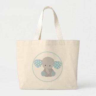 Beautiful Baby Boy Blue Elephant Jumbo Tote Bag