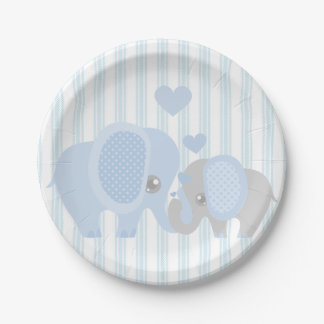 Beautiful Baby Boy Blue Elephant Paper Plate