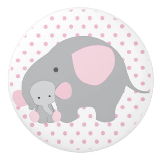 Beautiful Baby Girl Pink Elephant Ceramic Knob