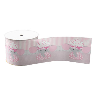 Beautiful Baby Girl Pink Elephant Grosgrain Ribbon