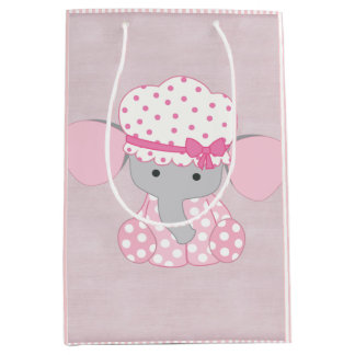 Beautiful Baby Girl Pink Elephant Medium Gift Bag