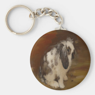 Beautiful Baby Lop Eared Rabbit/Kit Basic Round Button Key Ring