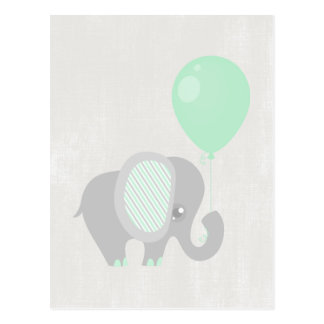 Beautiful Baby Neutral Teal Elephant Postcard