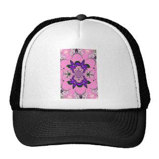 Beautiful baby pink floral purple shade motif mono cap