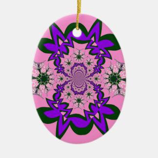Beautiful baby pink floral purple shade motif mono ceramic oval decoration
