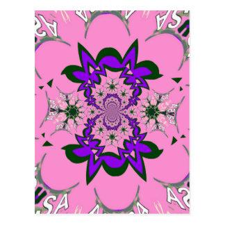 Beautiful baby pink floral purple shade motif mono postcard