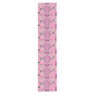 Beautiful baby pink  purple shade colorful motif short table runner
