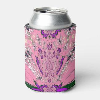 Beautiful baby pink  purple shade motif monogram can cooler