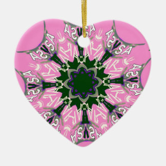 Beautiful baby pink purple shade motif monogram de ceramic heart decoration