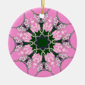 Beautiful baby pink purple shade motif monogram de round ceramic decoration