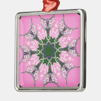 Beautiful baby pink purple shade motif monogram de Silver-Colored square decoration
