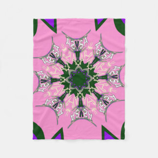 Beautiful baby pink  purple shade motif monogram fleece blanket