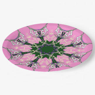 Beautiful baby pink  purple shade motif monogram paper plate