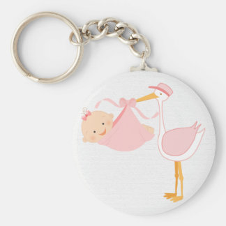 Beautiful Baby Pink Stork, It's a Girl! Basic Round Button Key Ring