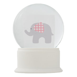 Beautiful Baby Shower Pink Elephant Party Favor Snow Globe
