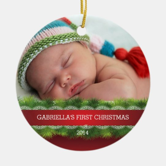 Beautiful Baby's First Christmas Photo Ornament