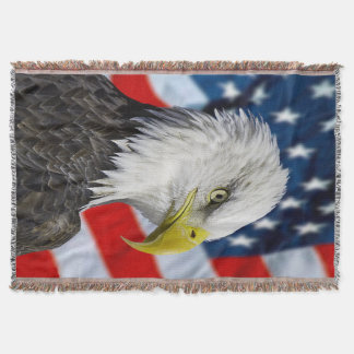Beautiful Bald Eagle head  and a American flag 1 Throw Blanket