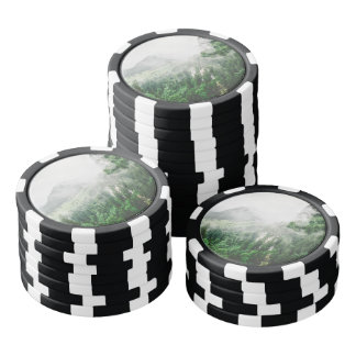 Beautiful Bavarian Germany foggy forest mountains Poker Chips