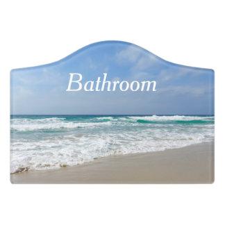 Beautiful Beach and Sea Bathroom Door Sign