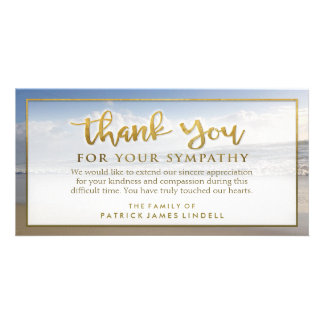 Beautiful Beach Golden Thank You Sympathy Card Photo Card Template