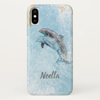 Beautiful Beach Theme Jumping Dolphins Art iPhone X Case